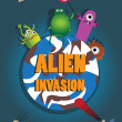 Alien invasion. Retro style vector poster. — Stock Vector #49587201