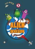 Alien invasion. Retro style vector poster. — Stock Vector