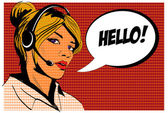 Girl operator call center. Comics style. — Stock Vector