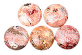 Pink and orange jasper beads — Stock Photo
