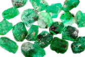 Green rough natural emeralds — Stock Photo