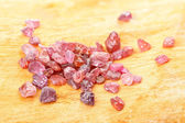 Uncut ruby on birch — Stock Photo