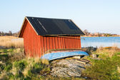 Red boathouse — Stock Photo
