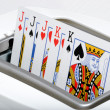 Poker card in toaster — Foto Stock #40520561