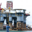 Stock Photo: Oil rig in harbor