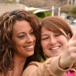 Friends taking picture wich camera phone — Stock Photo #44539315