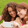 Friends taking picture wich camera phone — Stock Photo #44539329