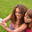 Friends taking picture wich camera phone — Stock Photo #44539333