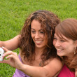 Friends taking picture wich camera phone — Stock Photo #44539395
