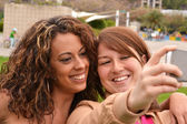 Friends taking picture wich camera phone — Stockfoto