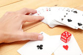Poker cards with red dice — Stockfoto