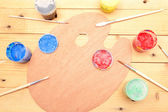 Painter's palette with colorful paints — Stok fotoğraf