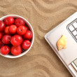 Laptop, plums and shell on sand — Stock Photo #49632609