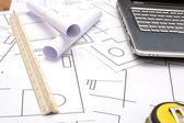 建設図面のためのツール — ストック写真
