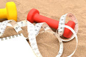 Notebook and dumbbells on sand — 图库照片