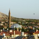 The mosque amid the panoramas in Cappadocia, Turkey — Stock Photo #32021737