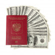 Hundred dollar bills fwith passport — Stockfoto #32237157