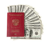 Hundred dollar bills fan with a passport — Stock Photo