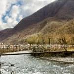 A suspension bridge across the River in the gorge on their way to Lake Ritsa in Abkhazia — Stock Photo