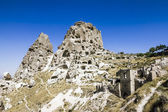 Uchisar Castle,cave, city, Capapdocia — Stock Photo