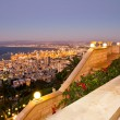 View from Mount Carmel to port and Haifa in Israel during sunset — Foto Stock