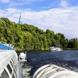 Hovercraft sail from the island of Valaam in Lake Ladoga — Stock Photo