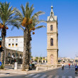 The clock tower in the old Jaffa on Shabbat — Stock Photo