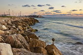 View from the rocky shores of the Mediterranean Sea in Jaffa — Stock Photo