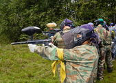 Joueurs de paintball de but — Photo