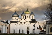 Saint Sophia Cathedral in the Kremlin of Velikiy Novgorod, with dramatic sunset light — Stock Photo