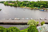 View of the bridge and Wharf of yachts in the historical center of Vyborg — Stock Photo