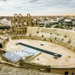 Roman amphitheatre in the city of El JEM in Tunisia at sunset — Stock Photo