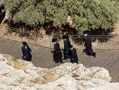 国立洋服のユダヤ人はエルサレムのダビデ王のゲートに行く — ストック写真