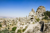 Homes in volcanic rock formations of Cappadocia, Turkey — Stock Photo