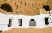 Underground House of trogladites in the desert of Tunisia,Matmat — Stock Photo