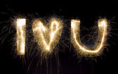 "Sparkling inscription ""I love u"" on a black background — Stock Photo"