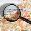The city of Sevastopol in the Crimea map through a magnifying gl — Stock Photo