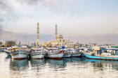 Fishing boats at the port of Hurghada, Hurghada Marina at sunset — Stock Photo