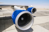 Jet engine on the wing of an aircraft — Stock Photo