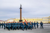 Emergency troops on victory day parade rehearsal.Victory parade — Stock Photo