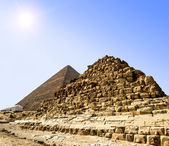 Pyramids at Giza on the background of the Sun,Cairo, Egypt — Stock Photo