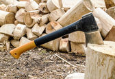 Axe in polene amid piles of logs in the forest — Stock Photo