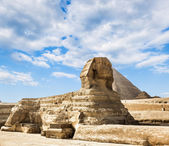 The Sphinx and the pyramid of Cheops in Giza Egipt  — Stock Photo