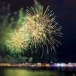 The fireworks and a laser show in the waters of the Neva River i — Stock Photo #49226723