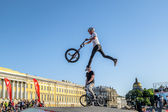 Competitions the BMX riders at  youth day in St.Petersburg,Victo — Stok fotoğraf