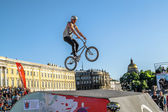 Competitions the BMX riders at  youth day in St.Petersburg, ,Rus — Photo