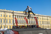 Competitions the BMX riders at  youth day in St.Petersburg,Victo — Photo