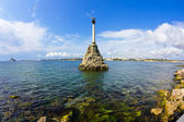 The monument to the flooded ships in the Bay of Sevastopol — Stock Photo