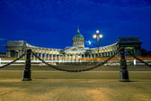 The Kazan Cathedral in St. Petersburg at night illumination  — Stockfoto