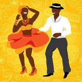 Salsa dancers. — Stock Vector